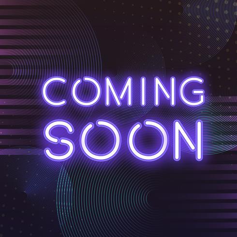 Violet bientôt vecteur icône néon