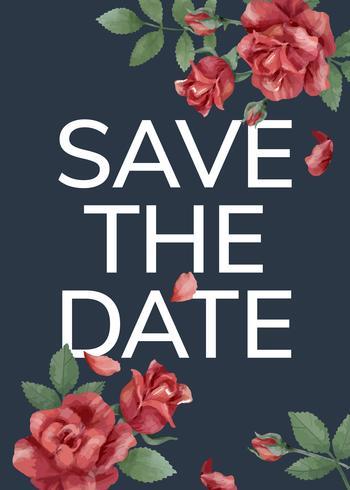 Inbjudningskort med rosor och löv