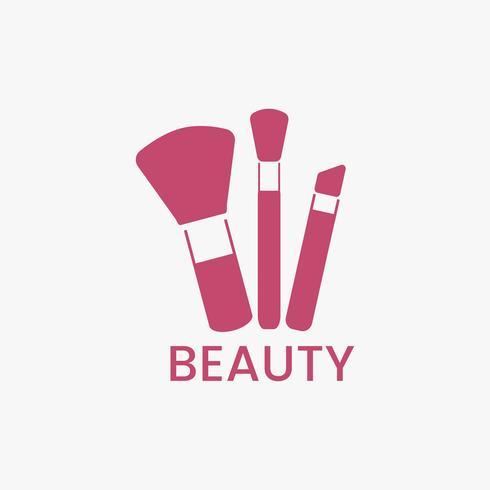 Roze make-up borstels pictogram cosmetische vector