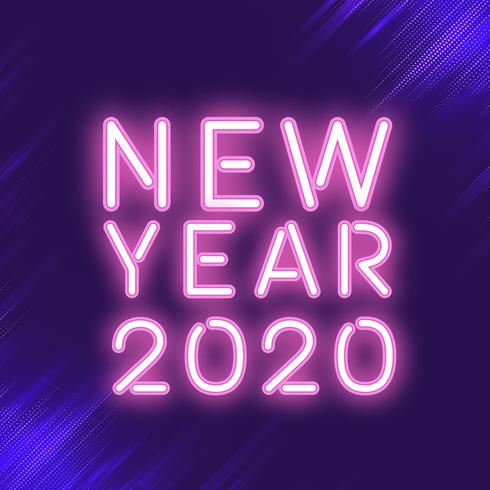 Pink new year 2020 neon sign vector