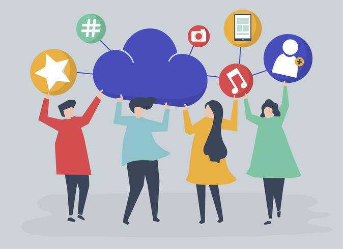 Personnes détenant des nuages et illustration d'icônes de réseaux sociaux