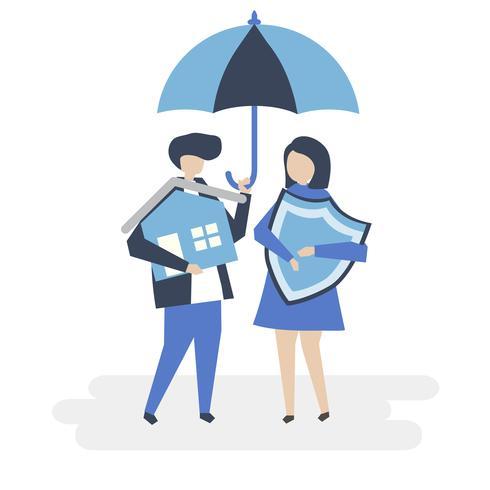 Paar und eine Hausversicherungskonzeptillustration
