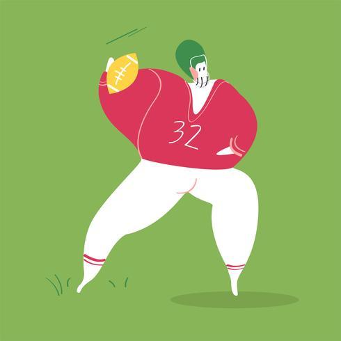 Karaktär illustration av en amerikansk fotbollsspelare