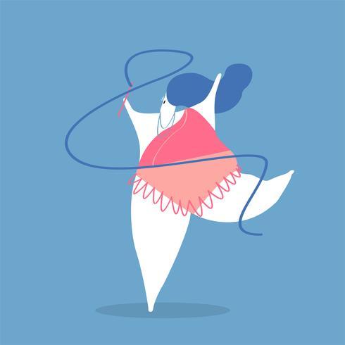 Ilustração de personagem de uma mulher de ginasta