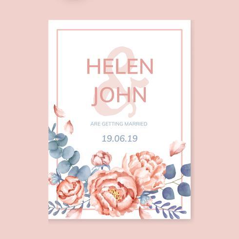 Carte de mariage floral sur le thème rose