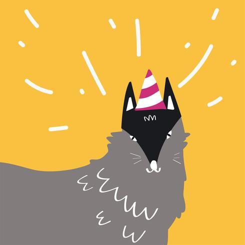 Grå tecknade vargen bär en fest hatt vektor design