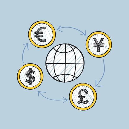 Commercio globale e movimento dell'illustrazione di valute