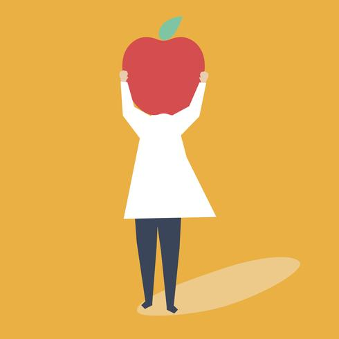 Carácter de una mujer con una ilustración de cabeza de manzana