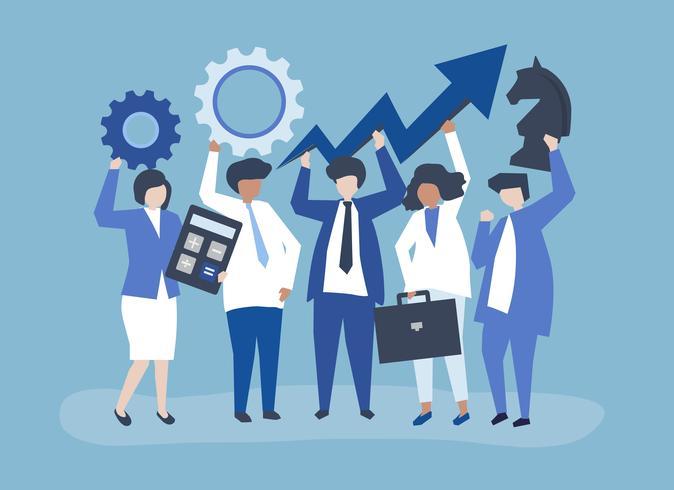 Ilustração de conceito de crescimento e estratégia de negócios