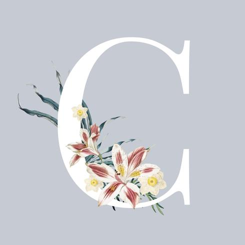 Brev C med blommor