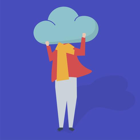 Carattere di una persona con una nuvola come un'illustrazione di testa