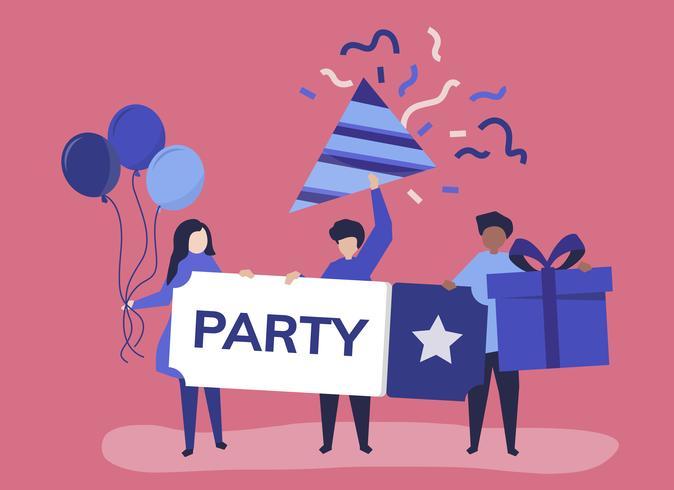 Karakterillustratie van mensen met partijpictogrammen