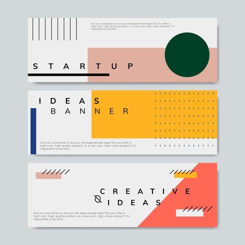 Ensemble de vecteur de bannière de démarrage minimal Memphis design