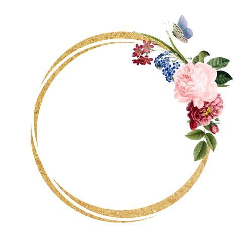 Blank blommig ram kort illustration