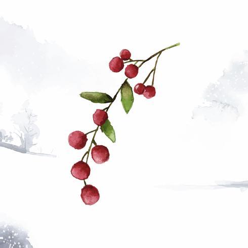 Julbär målad med vattenfärgvektor