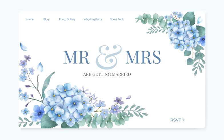 Floral wedding invitation website design