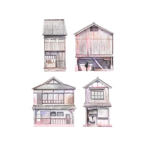 Funaya huizen in Kyoto Prefecture Japan vector