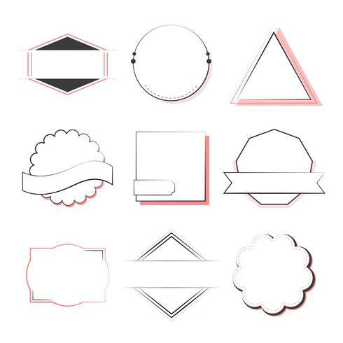 Sats med märken och emblem vektor