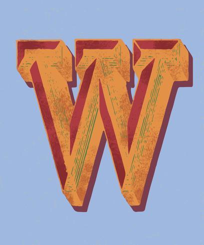Huvud bokstaven W vintage typografi stil