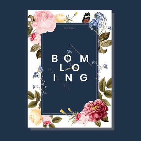 Blooming floral frame card illustration vector