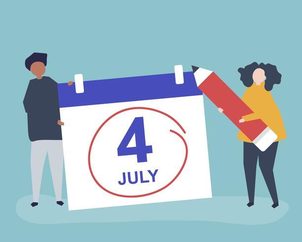 Tecken på människor och fjärde juli konceptillustration