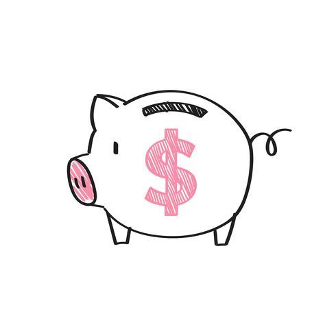 Hucha con una ilustración de signo de dólar