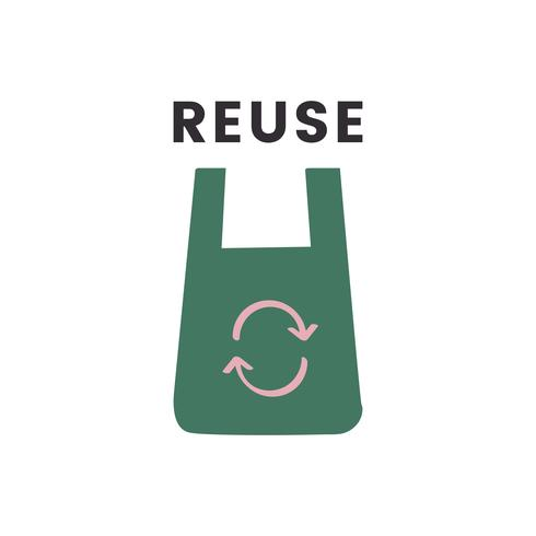 Riduci l'icona di riutilizzo e riciclaggio