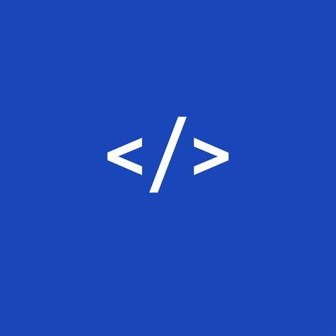 Web code pictogram vector op blauwe achtergrond