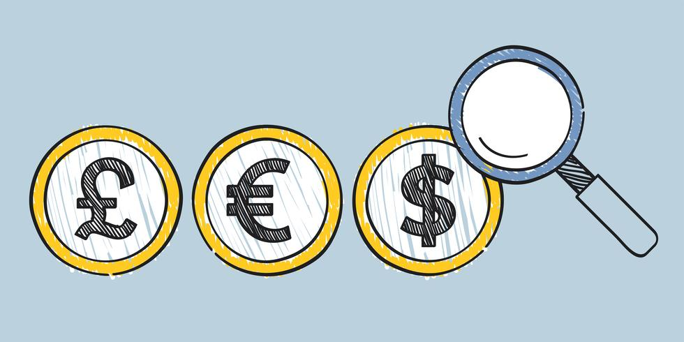 Searching for global currency rates illustration