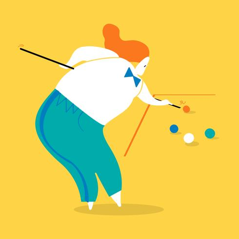 Character illustration of a woman playing billiards