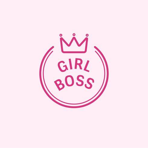 Garota chefe emblema distintivo ilustração