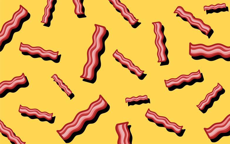 Ilustração de papel de parede comida bacon padrão