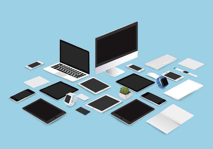 Office mockup uppsättning vektor illustration på blå bakgrund