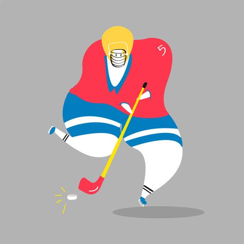 Character illustration of an ice hockey player