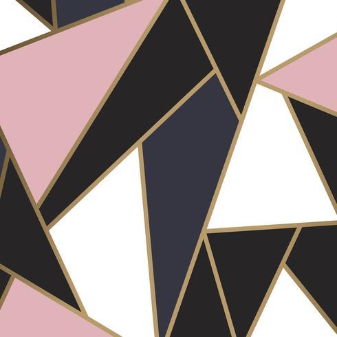 Moderne Mosaiktapete in Rotgold, Gold und Schwarz