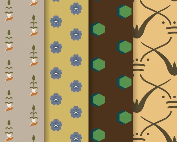 Set de 4 patrones vintage inspirados en la gramática del ornamento.