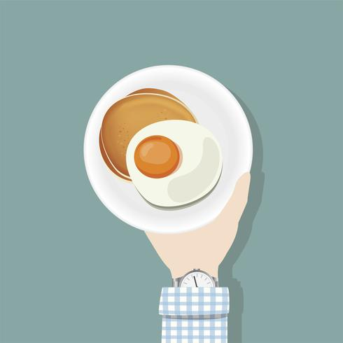 Illustration of a hand holding a plate of pancakes and egg