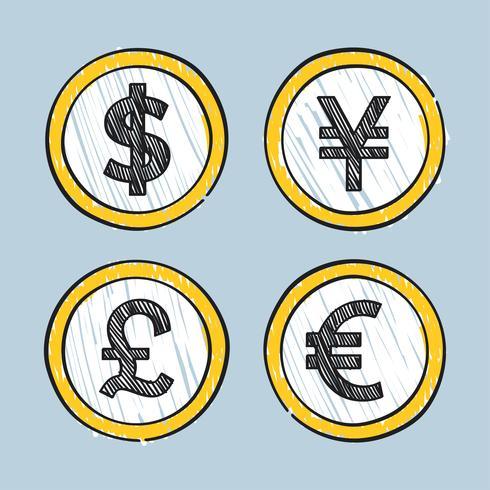 Wereldwijd leidende valuta's illustratie