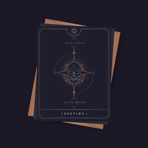 Geometric skull astrological tarot card vector