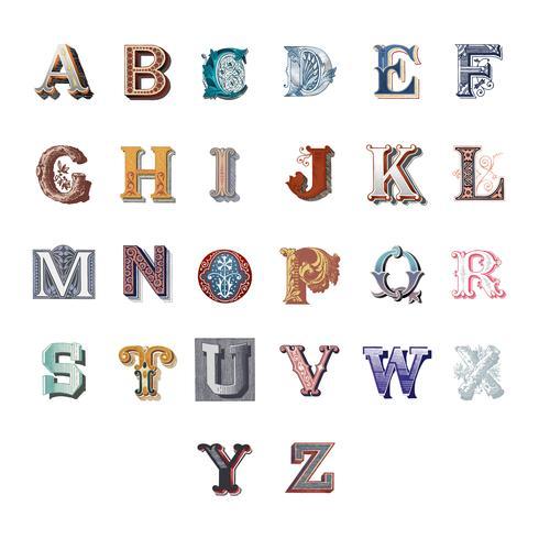 L'alphabet des lettres majuscules vintage