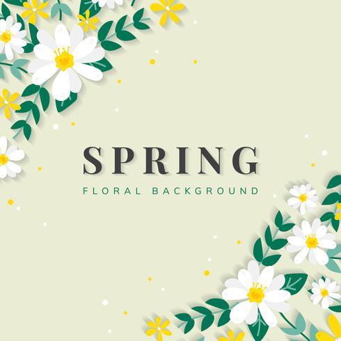 Ilustración de frontera floral de primavera