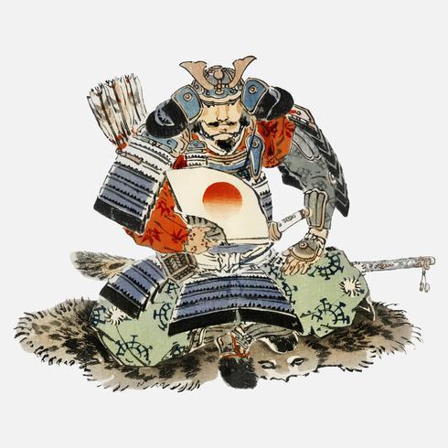 Samurai door K? No Bairei (1844-1895). Digitaal verbeterd vanuit onze eigen originele uitgave uit 1913 van Bairei Gakan.