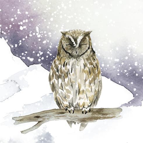 Búho en vector de estilo acuarela de invierno