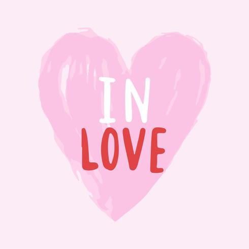In liefde typografie vector in een hart