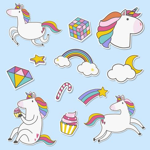 Conjunto de vector de pegatinas de unicornio