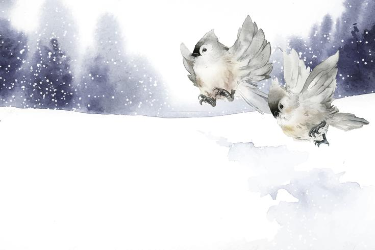 Hand drawn tufted titmouse birds in wintertime vector