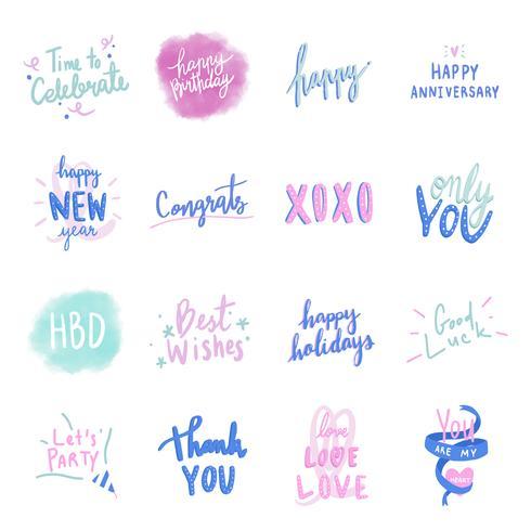 Verzameling van kleurrijke liefde typografie vectoren