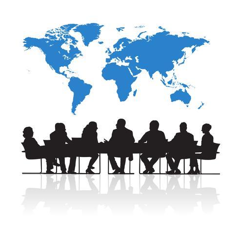 Illustration av affärsmän i mötet