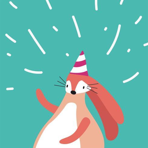 Roze konijn dat een partijhoed in een vector van de beeldverhaalstijl draagt
