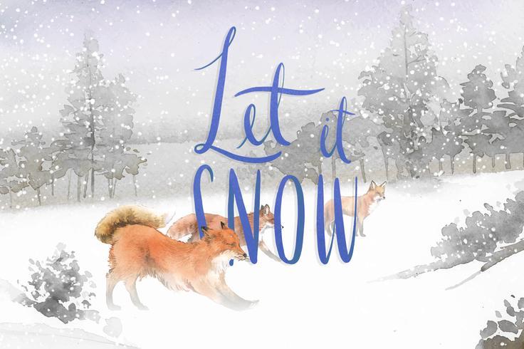 Lascia che nevichi con un gruppo di volpi disegnato a mano